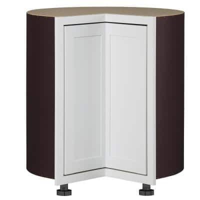 Westfield Feather White Wood Shaker Stock Assembled Lazy Suzan Corner Base Kitchen Cabinet ( 23.75 in. W x 36 in. D )