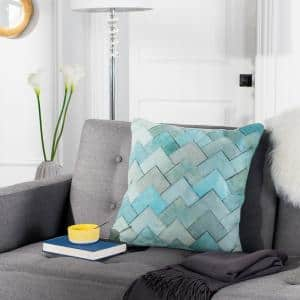 Draper Teal Geometric Cowhide Polyester 20 in. x 20 in. Throw Pillow