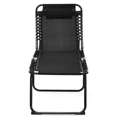 Black Folding Metal Patio Beach Lounge Chair Adjustable Backrest and Pedal with Pillow