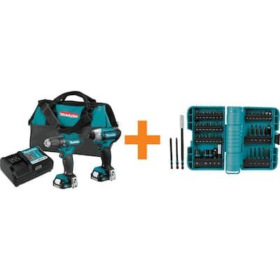 12-Volt MAX CXT Lithium-ion 1.5 Ah Cordless 2-Piece Combo Kit with ImpactX Driver Bit Set (50-Piece)