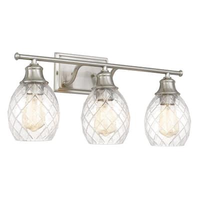 Framburg 24 in. x 7.63 in. x 10.13 in. 3-Light Brushed Nickel Vanity Light