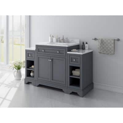 Mornington 54 in. W x 21 in. D Single Bath Vanity in Grey with Marble Vanity Top in White with White Sink