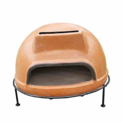 22 in. Rustic Liso Round Smooth Wood Burning Outdoor Pizza Oven in Brown