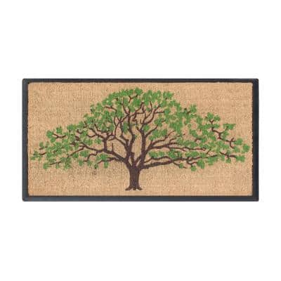 A1HC First Impression Hand-Crafted Life of Tree Green/Brown 30 in. x 48 in. Rubber Coir Double Doormat