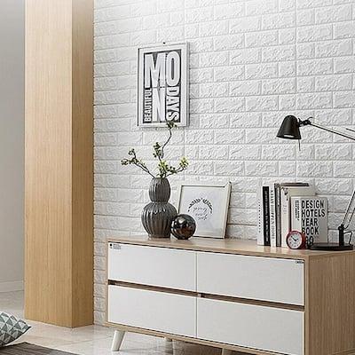 3DBrick White Vinyl Decorative Wall Panel