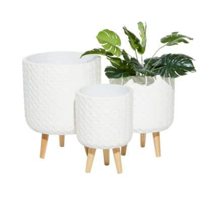 18 in. x 14 in. White MGO Planter (Set of 3)