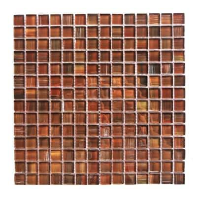 Handicraft II Frisco Red Square Mosaic 1 in. x 1 in. Glossy Glass Mesh Mounted Wall & Pool Tile (1.05 Sq. ft.)
