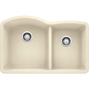 DIAMOND Undermount Granite Composite 32 in. 60/40 Double Bowl Kitchen Sink in Biscuit