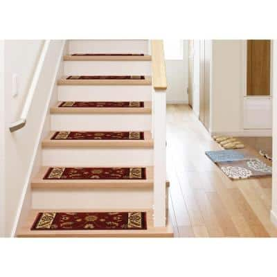 Kazmir Red 9 in. x 26 in. Stair Tread Cover (Set of 12)