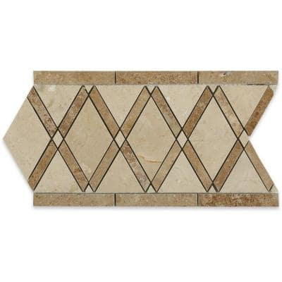 Grand Crema Marfil Noce Border 6 in. x 12 in. x 10 mm Polished Marble Floor and Wall Tile