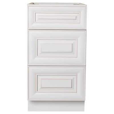 Ready to Assemble 18 in. W x 21 in. D x 34.5 in. H Vanity Cabinet with 3-Drawers in Antique White