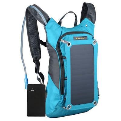 Solar Hydration Backpack, 10k mAh battery, 7-Watt Solar Panel in Blue