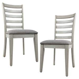 Gray Wooden Dining Chair with Fabric Upholstered Seat (Set of 2)