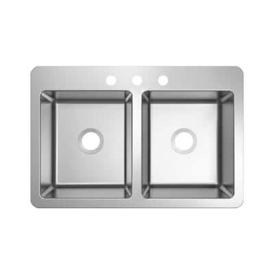 Stainless Steel 33 in. 18-Gauge Double Bowl Dual Mount Kitchen Sink