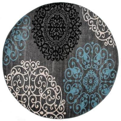 Contemporary Modern Floral Gray 6 ft. 6 in. Round Area Rug