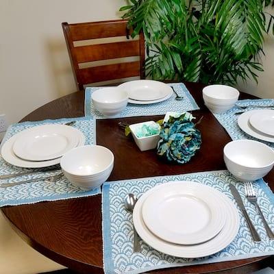 Plaza Cafe 12-Piece Casual White Stoneware Dinnerware Set (Service for 4)
