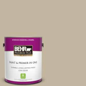 Behr Premium Plus 1 Gal Yl W11 Khaki Shade Eggshell Enamel Low Odor Interior Paint And Primer In One 205001 The Home Depot