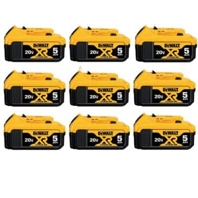 20-Volt MAX XR Premium Lithium-Ion 5.0Ah Battery Pack (9-Pack)