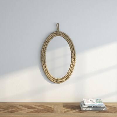 Medium Oval Brown Novelty Mirror (24.75 in. H x 16.5 in. W)