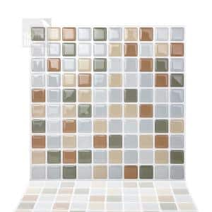 Mosaic Beigegrey 10 in. H x 10 in. H PVC Peel and Stick Tiles (6.8 sq. ft./10 sheets)