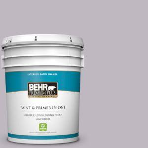 Behr Premium Plus 5 Gal N570 2 Standing Ovation Satin Enamel Low Odor Interior Paint And Primer In One 740005 The Home Depot