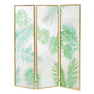 72.5 in. Green Glass Contemporary 3-Panel Room Divider Screen