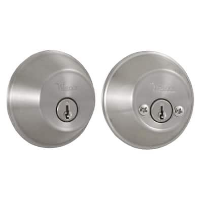 Essentials Double Cylinder Satin Nickel Deadbolt