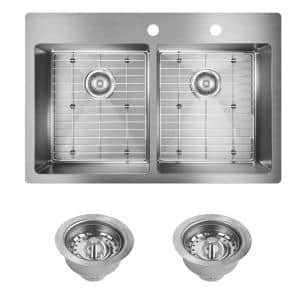 Crosstown Drop-In/Undermount Stainless Steel 33 in. 2-Hole Double Bowl Kitchen Sink with Bottom Grids and Drains
