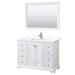 Deborah 48''W x 22''D Single Vanity in White w/ Cultured Marble Vanity Top in White w/ Basin & Mirror