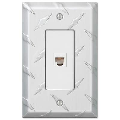 Diamond Plate 1 Gang Phone Aluminum Wall Plate - Aluminum