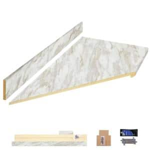 8 ft. White Laminate Countertop Kit With Left Miter and Eased Edge in Drama Marble