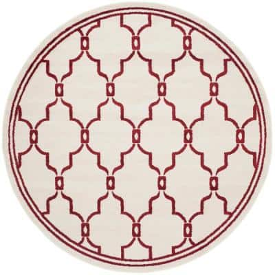 Amherst Ivory/Red 7 ft. x 7 ft. Round Area Rug