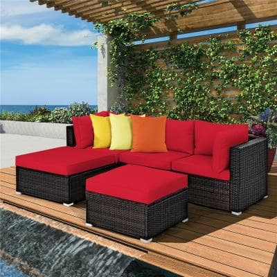 5-Piece Wicker Patio Conversation Sectional Seating Set with Red Cushions