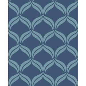 Barstow, Blue Petals Ogee Paper Strippable Wallpaper Roll (Covers 56.4 sq. ft.)