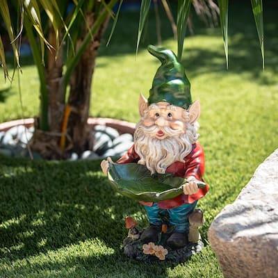 16 in. Tall Outdoor Garden Gnome and Bird Feeder Yard Statue Decoration