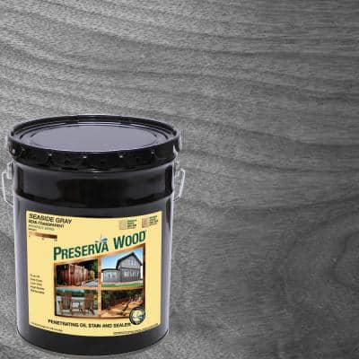 5 gal. Seaside Gray Semi-Transparent Oil-Based Exterior Wood Stain