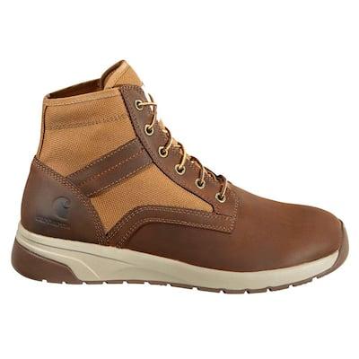 Men's FORCE 5 in. Sneaker Work Boot Nano Composite Toe - Brown Size 14W