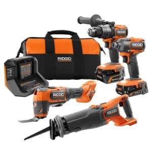 18V Brushless Cordless 4-Tool Combo Kit with (1) 4.0 Ah and (1) 2.0 Ah MAX Output Batteries, 18V Charger, and Tool Bag