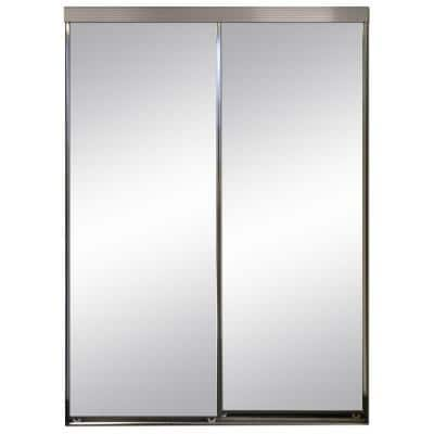 90 in. x 80 in. Polished Edge Mirror Framed with Gasket Interior Closet Sliding Door with Chrome Trim
