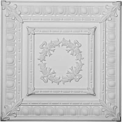 Milton Egg and Dart 2 ft. x 2 ft. Glue Up or Nail Up Polyurethane Ceiling Tile in White