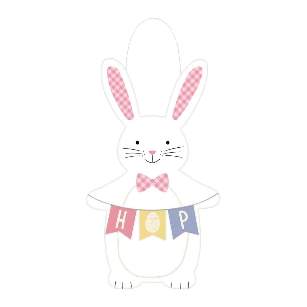 Amscan 24 In X 14 In Mdf Easter Bunny Pastel Hanging Sign 243559 The Home Depot