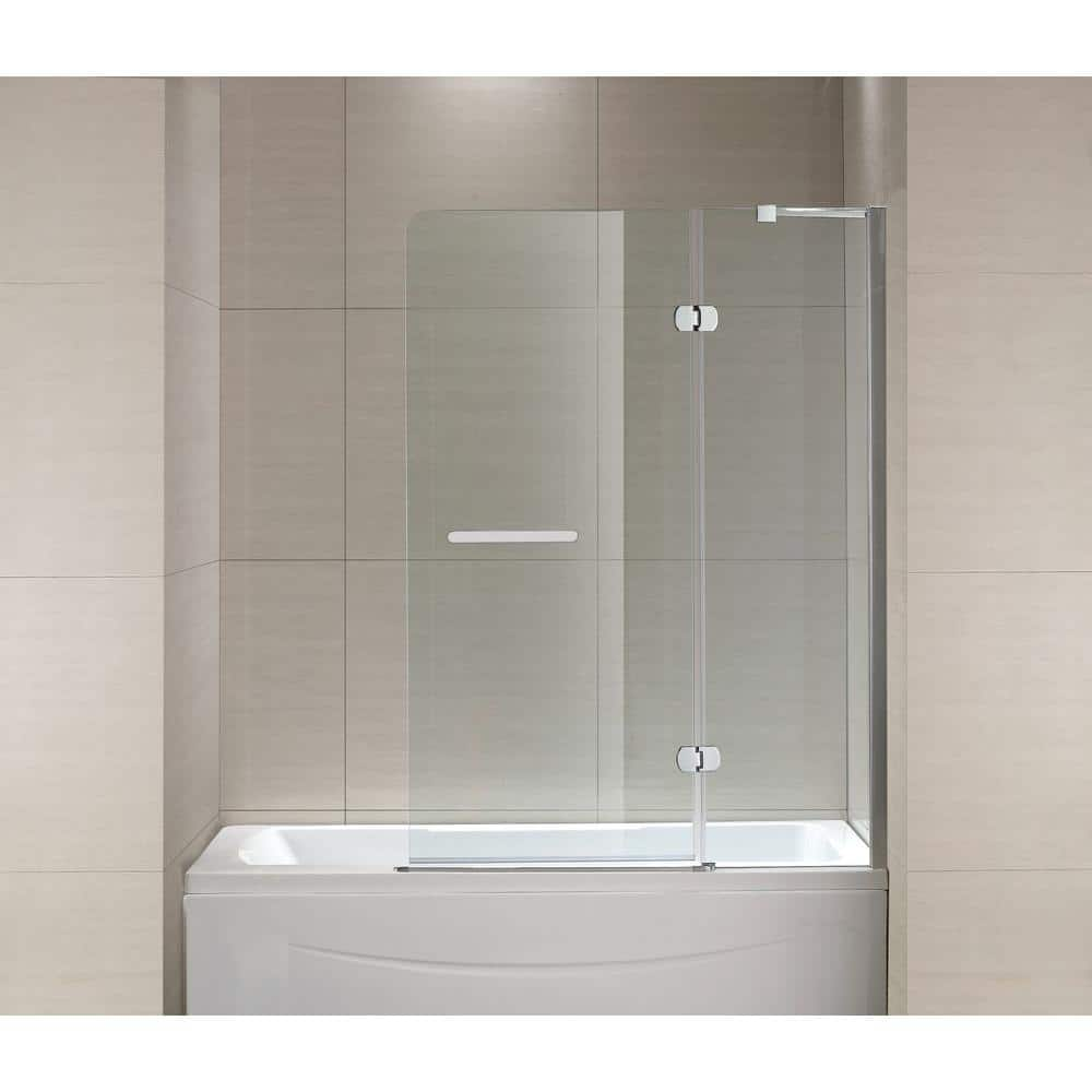 Schon Mia 40 In X 55 In Semi Framed Hinge Tub And Shower Door In Chrome And Clear Glass Sc70014 The Home Depot