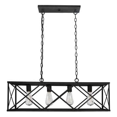 32 in. 4-Light Black Island Pendant
