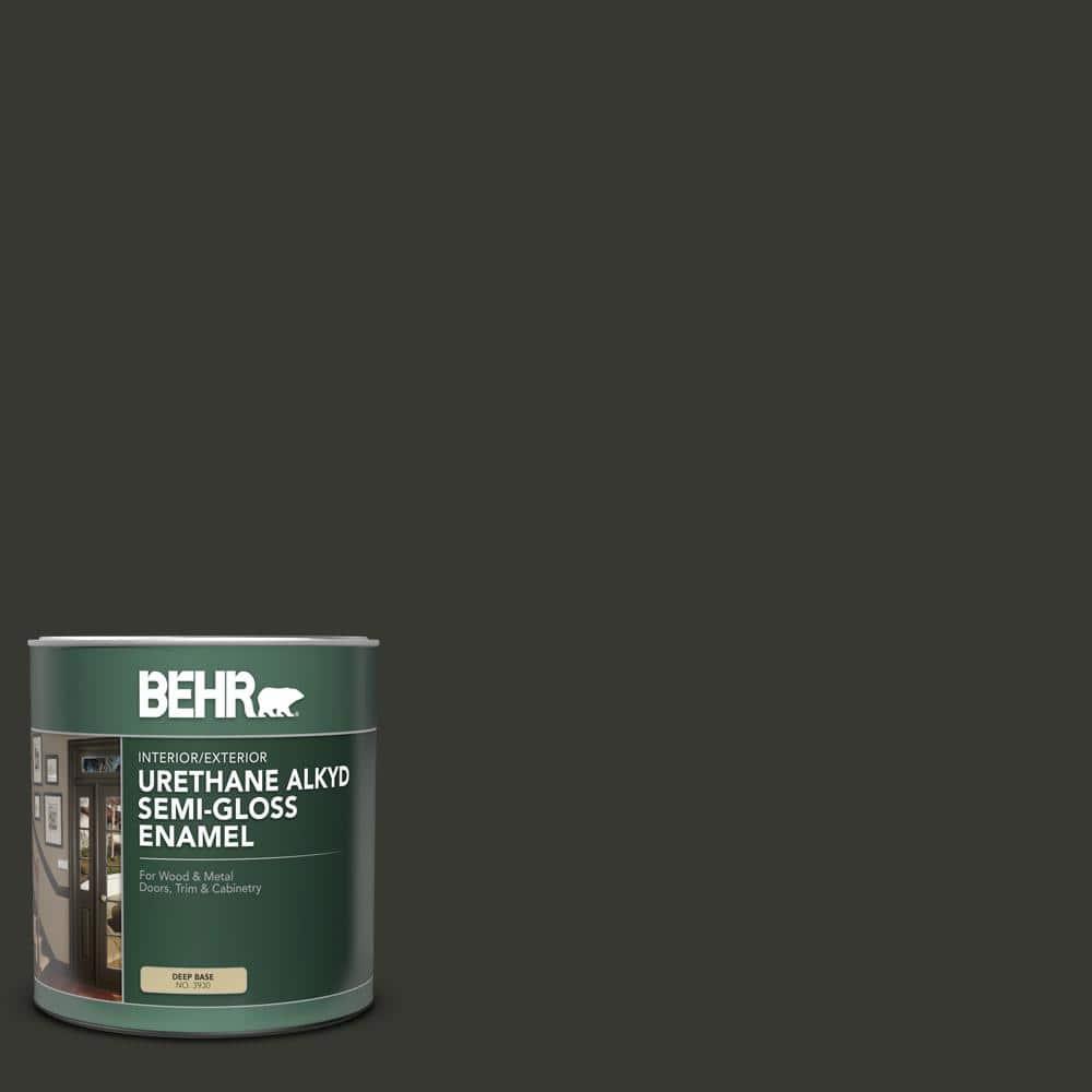 Behr 1 Qt N520 7 Carbon Semi Gloss Enamel Urethane Alkyd Interior Exterior Paint 393004 The Home Depot
