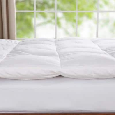 Peace Nest White Goose Feather Bed Medium No Pocket Down King Mattress Topper
