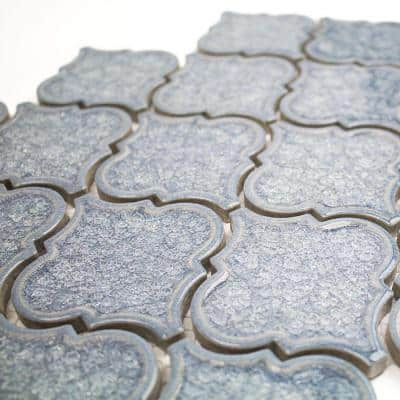 Roman Selection Iced Blue Lantern 9-3/4 in. x 10-1/2 in. x 8 mm Glass Mosaic Tile