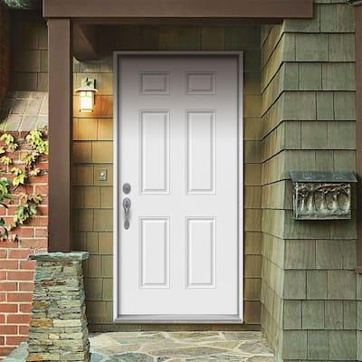 32 in. x 80 in. 6-Panel Primed Steel Prehung Right-Hand Inswing Front Door