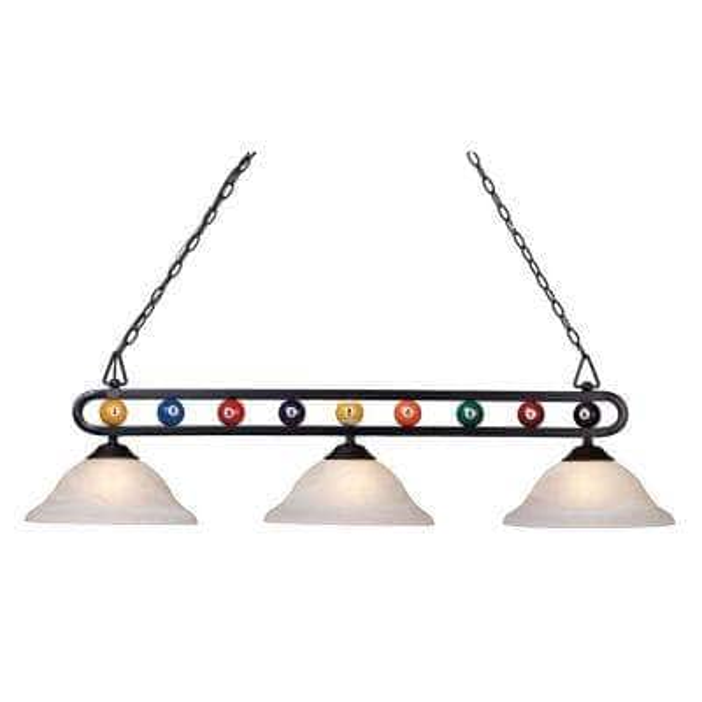 Chalkie 3-Light Matte Black Billiard-Themed Kitchen Island Light with White Shade