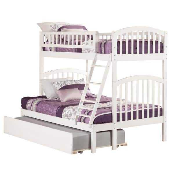 Atlantic Furniture Richland White Twin Over Full Bunk Bed with Twin Urban Trundle Bed | The Home Depot