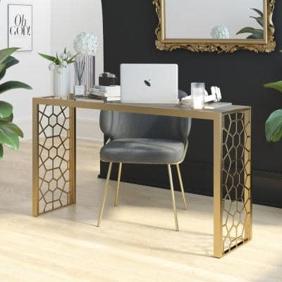 Juliette 54 in. Gold Rectangle Glass Top Metal Console Table